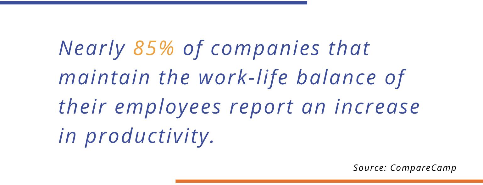 85% of companies work life balance