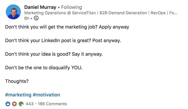 Daniel Murray LinkedIn Post Dont Disqualify You