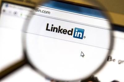 Ostersund, Sweden -August 3, 2014:  Linkedin website under a mag