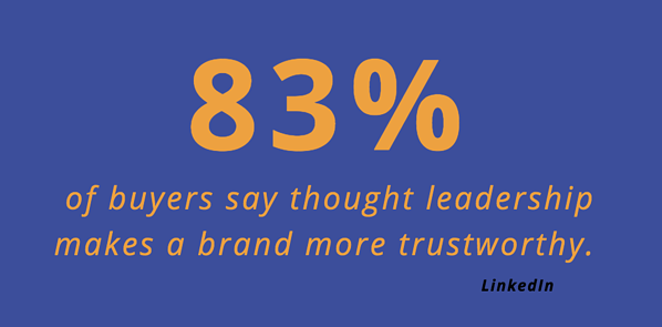 LinkedIn Thought leadership Stat 83% of buyers say thought leadership makes a brand more trustworthy