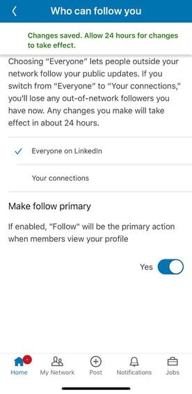 Linkedin Follow Settings