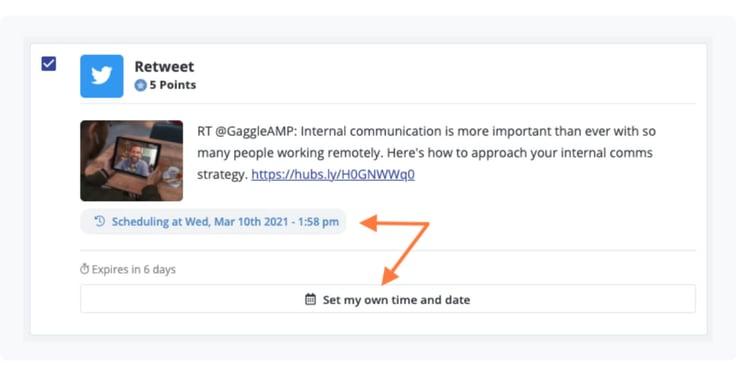 Retweet activity for employee advocacy